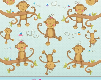 Monkey n Around Cute Digital Clipart for Card Design, Scrapbooking, and Web Design