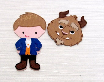 Beast Costume and one BOY Non Paper Doll for Felt Play - Toddler - Quiet Book - Learning - Travel Imaginative Play - Toddler Montessori Toy