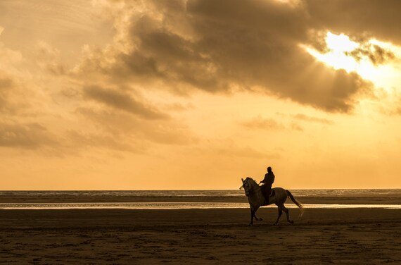 Spanish Horse Man In Silhouette, horse, equine print, Tarifa Beach,photographic print, limited edition print.