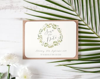 Personalised Green Watercolour Leaves Save The Date Cards Natural Vintage Rustic
