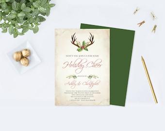 Boho Christmas Invite, DIY Editable Text PDF Template, Deer Antler Christmas Bridal Shower Invitation Printable Instant Download Invite