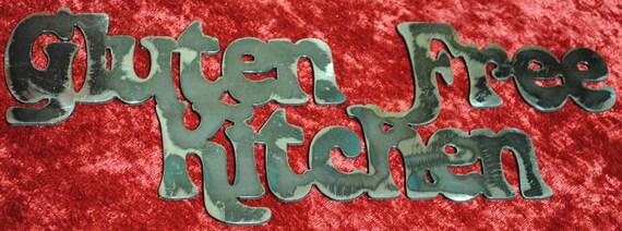 Gluten Free Kitchen, Metal Sign, Kitchen Sign, Kitchen Decor, Gluten Free Food, Resturant Decor, Allergy Free Food, Metal Wall Art Gift