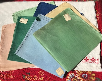 7 Vintage Irish Linen Hankies~To Crochet or Embroider~NOS/Labels~Green~Peach~Blue~Yellow~Unused~Drawn-Thread Edges~Hanky Lot