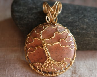 Pink Jasper Tree of Life Pendant with Gold color wire
