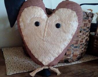 Primitive Heart And Crow Fabric Made Do Valentine Decor