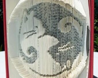 """Cat Yin Yang"" 3D book sculpture"