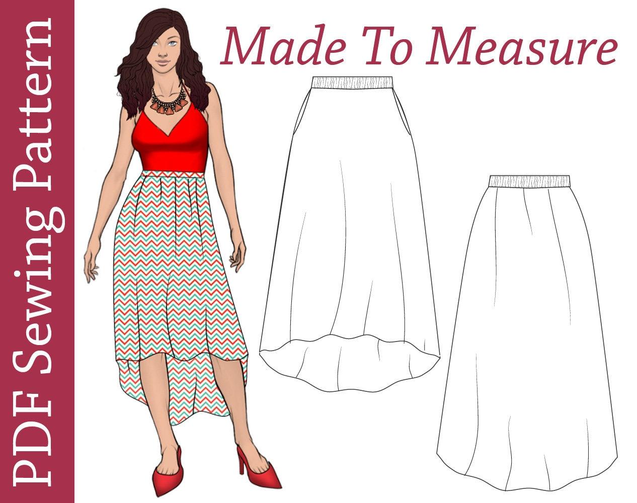 High low skirt pattern pdf sewing pattern women sewing zoom jeuxipadfo Choice Image