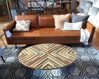 Custom Reclaimed Wood Lath Oval Coffee Table