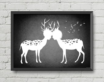 I love you my deer,art,digital print,print,black and white,artwork,deer,love,romantic,home decor