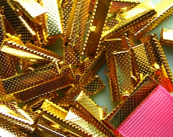 144 pieces 22mm or 7/8 inch Gold Ribbon Clamp End Crimps