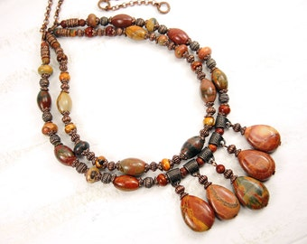 Copper Picasso Jasper Necklace Multi Strand Necklace Antique Copper Necklace