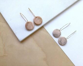 Rose gold earrings, hoop earrings, polymer clay jewelry, statement earrings, minimalist earrings, dangle earrings, hoops, pink earrings
