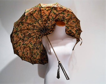 Vintage Pagoda Top Rayon Floral Parasol or Umbrella, c. 1920