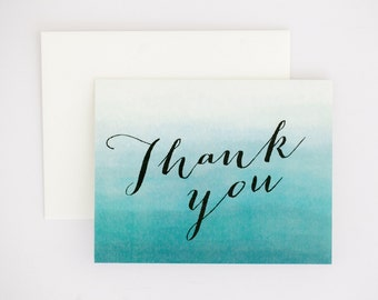 Ombre Wedding Thank You Card - Teal Blue Ombre – Romantic Timeless Calligraphy Wedding Card (Evelyn Suite)