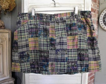 Vintage Madras Skirt/ Size 18 Skirt/ Skirt with Shorts/ Cotton Patch Madras/ Navy Shorts/ Thrifted Funwear/ Chic Shorts-Skirt/ Shabbyfab Fun