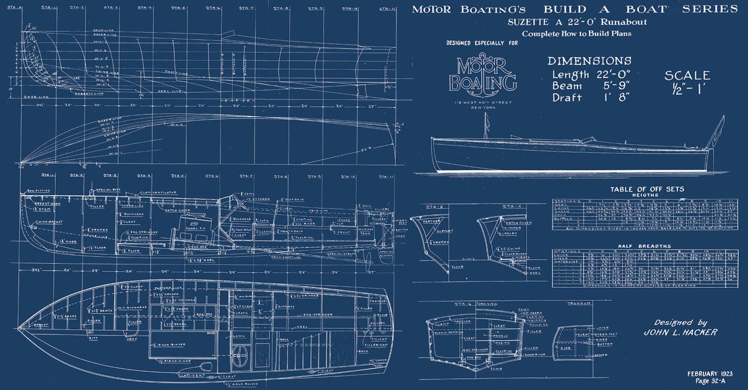 Print of vintage suzette boat blueprint from motor boatings build a print of vintage suzette boat blueprint from motor boatings build a boat series on your choice of matte paper photo paper or canvas malvernweather Images