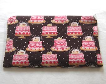 Birthday Cake Fabric Zipper Pouch / Pencil Case / Make Up Bag / Gadget Sack