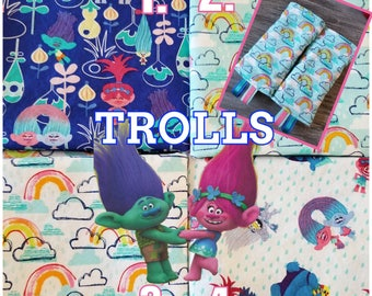 Ergo360 or Lillebaby 3-PC sets.  Headrest Bib/Straight Pads. Curved Pads upgrade available. Addon Embroidery and dangle options. TROLLS