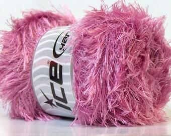 Orchid Pink Eyelash Yarn Ice 100 Gram Eyelash Orchid 22726 Pink Fun Fur Yarn for Scarves, Fiber Jewelry, Faux Fur Trim, Spring Wreaths &More