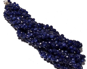 """Natural Faceted 18"""" 1 Strand Blue Sapphire Onion Beads 6-9mm Gemstone Beads Onion Shape"""