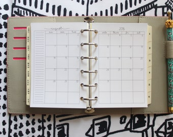Printed POCKET Size Month on 2 Pages Planner Inserts