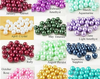 Add on: 8mm Glass Birthstone Pearl