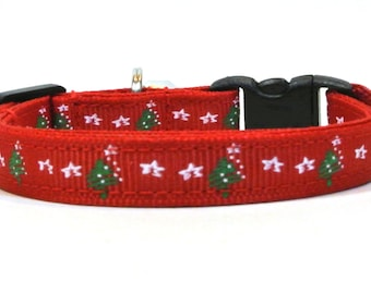 Red Christmas Tree Breakaway Cat Collar