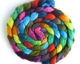 Florescence, BFL/Silk Roving - Handpainted Spinning or Felting Fiber
