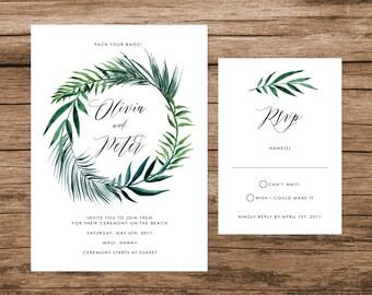 Tropical Leaves Wedding Invitation, Palm Leaves Wedding Invitation, Destination Wedding Invite