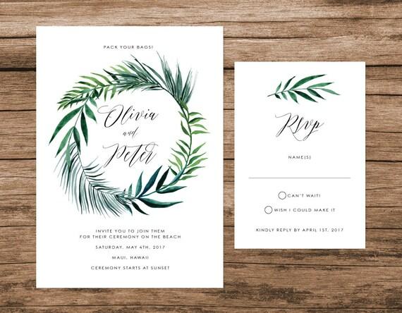 Tropical Leaves Wedding Invitation Palm Leaves Wedding