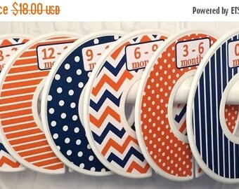 6 Custom Baby Closet Dividers Organizers in Navy Orange White Chevrons Dots Stripes CD361 Boy Girl Baby Shower Nursery Gift Organizers