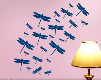 Dragonfly Wall Art Decals, Woodland decal Dragonfly Decor, 26 Flying Dragonflies (shown in Twilight Blue)