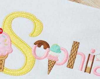 Ice Cream Shirt, Ice Cream Cone, Shirt, Sundae Shirt,Children's Adult Personalized Embroidered, Appliqued Shirt or Bodysuit