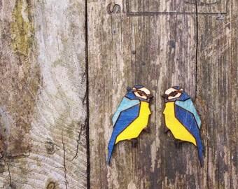 Bluetit bird earrings, laser cut jewellery.