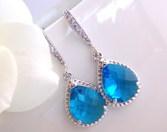 Wedding Jewelry, Blue Sapphire Earrings, Capri, Silver, Royal Blue,Cubic Zirconia, Bridesmaid Jewelry, Bridesmaid Earrings,Dangle,Gift,