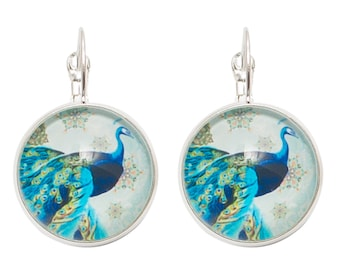 Round cabochon earrings * majestic blue Peacock *.