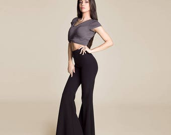 High waist flared boho chic bell bottom wide leg pants