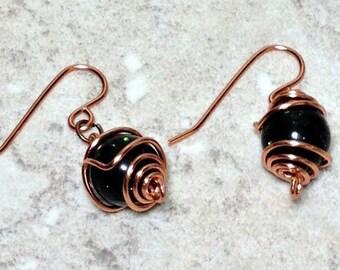 Copper earrings, Green Goldstone Wire Wrapped, Copper Earrings