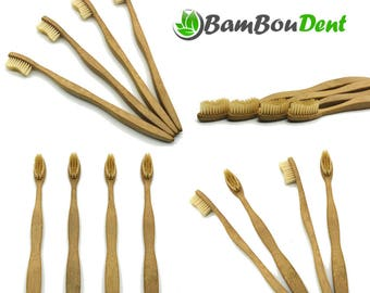 BamBouDent - The Dotzena - Pack of 12 wooden Biodegradable bamboo toothbrushes - BPA free - which protects the environment!