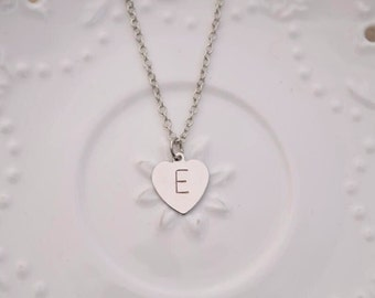 personalized heart initial necklace letter necklace monogram name personalize initials silver necklace bridesmaid necklace