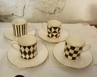 VINTAGE Hornsea ESSPRESSO Cups & Saucers Silhouette Black White Geometric 1980s