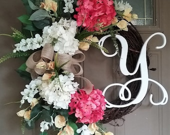 Spring/Summer Wreath,Wreath with Monogram,Mother's Day Wreath,Hydrangea Wreath,Front Door Wreath,Wreath with Letter,Salmon,Cream and White