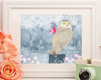 Wise Owl, Nursery Animal Wall Art, Bird, Kids Room, Print (Available in Horizontal and Vertical)