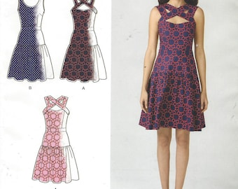 Cynthia Rowley Womens Dress with Bodice Variations Simplicity Sewing Pattern 1607 Size 14 16 18 20 22 Bust 36 to 44 UnCut