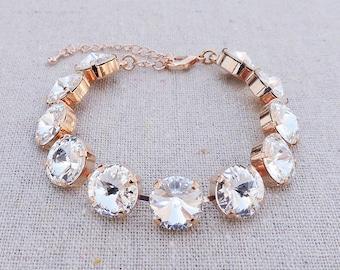 Swarovski Crystal Faux Diamond Spike Cut Round Chaton Rivoli Rose Gold Adjustable Bracelet Wedding Bridal Jewelry Bridesmaid Gifts