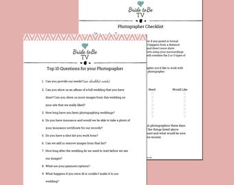 Wedding Photography Checklist and Question Sheets