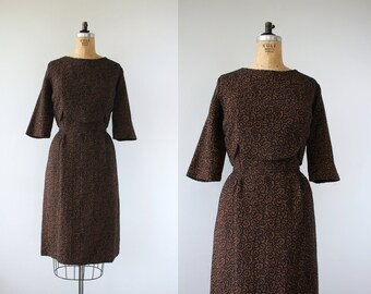 vintage 1950s dress / 50s plus size dress / 50s brown and black wool dress / 50s wiggle dress / 50s scallop waist dress / 50s party dress