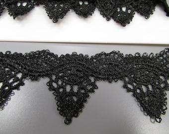 Black Venise Guipure Lace Trim