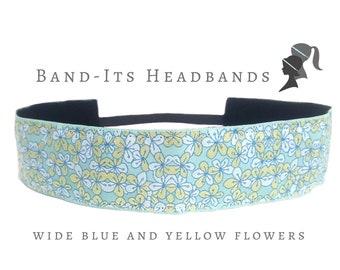 Wide Headband - Thick Headband - Floral Headband - Blue Headband - Yoga Headband - No Slip Headband - Running Headband - Blue Yellow Flowers