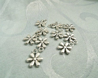 Lot 10 Silver Flower charms